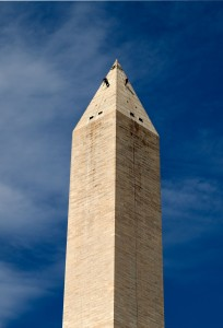 Daniel Gach and Emma Cardini from WJE rappel down the Washington Monument to assess earthquake damage