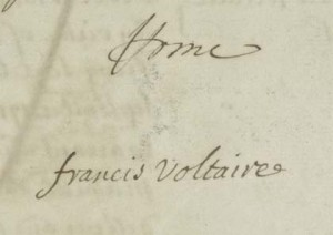 """Francis Voltaire"" signature on letter to the British Treasury"