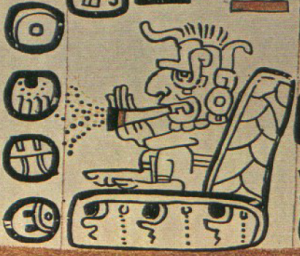 Mayan god smoking ... something, Madrid Codex, page 88