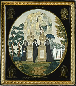 Embroidered and painted silk mourning picture by Betsey Clarke, Miss Patten's School, Hartford, CT, ca. 1809