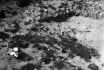 Bomb crater exposes buried bones, Treblinka, 1945