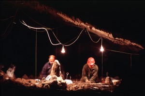 Archaeologists excavating around the stalagmite in 2000