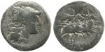 Silver denarius, oldest Roman coin ever found in Britain, ca. 211 B.C.