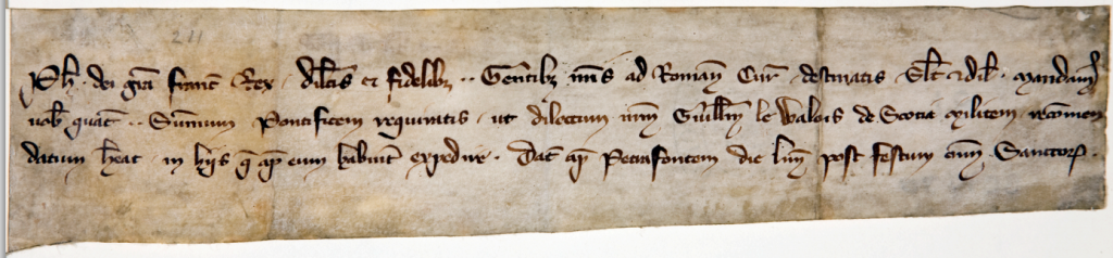 Letter from Philip IV to Pope Boniface VIII re. William Wallace, 1300