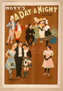 "Poster of ""A Day and a Night in New York,"" 1898 musical in which Lew Bloom played 'The Clean Man,' aka the stage doorkeeper"