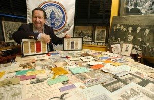 Landau with his inaugural memorabilia collection