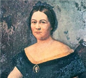 The purported painting of Mary Todd Lincoln as it looked in 1965