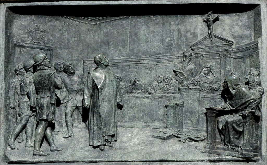 Relief of the Trial of Bruno by Ettore Ferrari, on the base of the Campo de' Fiori statue
