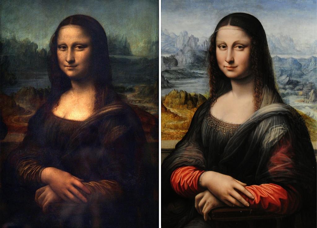 """Louvre's original Leonardo da Vinci """"Mona Lisa"""" (l), Prado's copy (r)"""