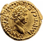 Gold aureus of Titus, obverse, 70 A.D.