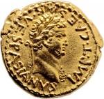 Gold aureus of Titus, obverse, 70 A.D.