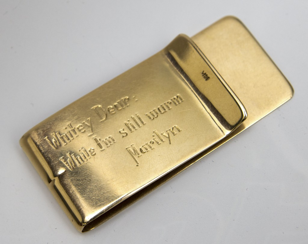 "Engraved gold Tiffany money clip, gift from Marilyn Monroe to Allan ""Whitey"" Snyder"