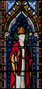 St. Laurence in stained glass at the Church of the Immaculate Conception, Wexford