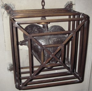 St. Laurence's heart in a wooden box in an iron-barred container