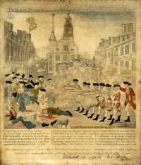 """The Bloody Massacre perpetrated in King Street, Boston on March 5th 1770 by a party of the 29th Regiment,"" engraving by Paul Revere"