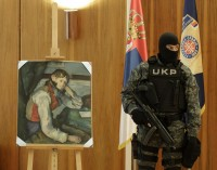 "Serbian police guard recovered Cezanne, ""The Boy in the Red Vest"""