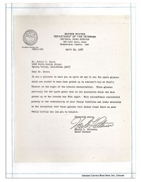 1968 letter from Chief Curator of the National Park Service Harold L. Peterson
