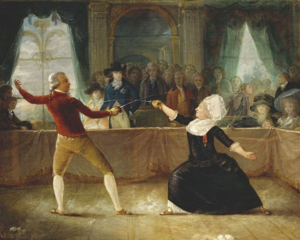 &quot;The Fencing-Match between the Chevalier de Saint-George and the Chevalier d&#039;Eon&quot; by Charles Robineau; the Prince of Wales, wearing the Star of the Garter, stands watching