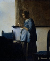 """Woman in Blue Reading a Letter"" by Vermeer, 1663-64, before restoration"