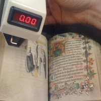Densitometer analyzing page of a medieval illuminated manuscript