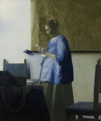 """Woman in Blue Reading a Letter"" by Vermeer, 1663-64, after restoration"