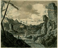River valley with a waterfall; second state with landscape burnished and added trial lines. Etching and sugar-lift, printed in blue ink, with grey and brown watercolour
