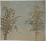 The Two Trees, cropped aquatint in brown ink on paper prepared with pink and broad brushstrokes of blue bodycolour