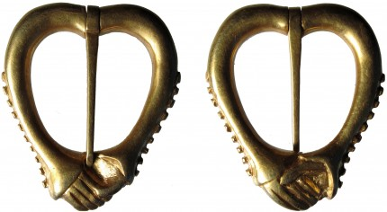 Medieval gold annular brooch front (right) and back (left)