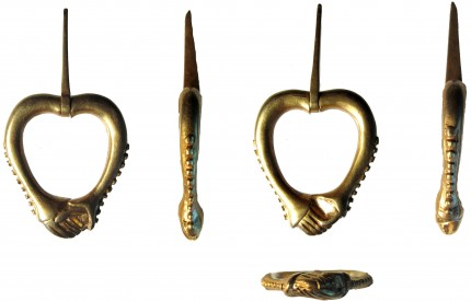 Medieval gold annular brooch, multiple views