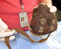Ancient Peruvian purse found during Winter Garden pool construction
