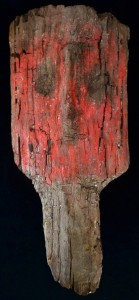 "Painted wood ""false head"" mask from Pachacamac tomb"