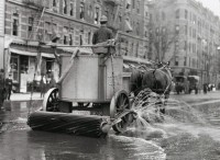 Horse cart street cleaners
