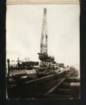 75-ton floating crane lifting locomotive, Montreal, 1911