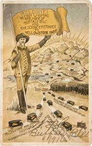 Postcard of the Cody trail to Yellowstone, signed by Buffalo Bill