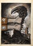 Soviet and British unity strangling predatory Germany, by unknown artist