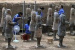 Newly-discovered terracotta soldiers after restoration