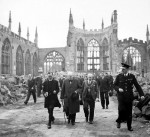 Churchill tours Coventry Cathedral after its destruction in the Blitz