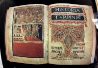 Medieval facsimile of the Codex Calixtinus kept on public display in the cathedral of Santiago de Compostela