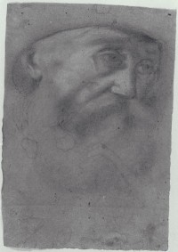 Old man drawing in Peterzano collection, attributed to Caravaggio