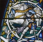Richard III falls at Bosworth; Shakespeare Window in Southwark Cathedral, designed by Christopher Webb, 1954