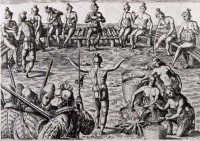 Black drink ceremony among Florida's Timucuans, print from drawing by Jacques le Moyne ca. 1564