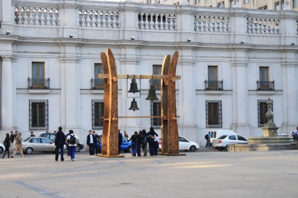 Returned church bells in the memorial in Plaza de la Constitution