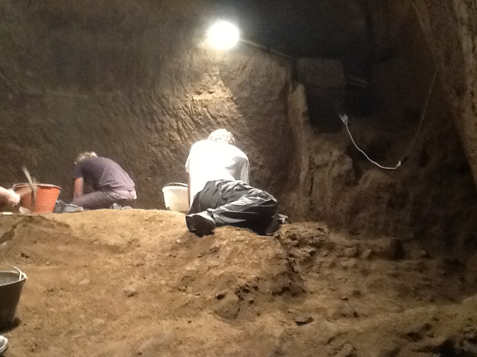 Excavating Etruscan cavern carved in pyramid shape under Orvieto