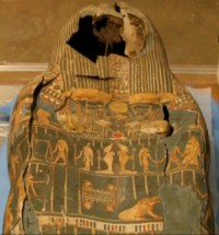 Damaged 3000-year-old Egyptian mummy case