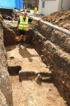 Medieval remains uncovered on site, picture from University of Leicester