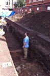 Medieval remains in one of the trenches, picture from University of Leicester