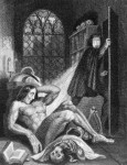 "The creature awakens, frontispiece of third edition of ""Frankenstein,"" the first one with illustration, first one with Mary Shelley named as author"