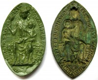 Sulphur cast in British Museum (l), Stone Priory seal matrix (r)