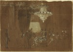 Ellsworth's funeral in the East Room of the White House, drawing on May 25th, 1861, by artist Alfred Waud
