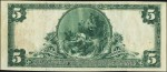 First National Bank of Fairbanks $5 bill, Serial Number 1, back